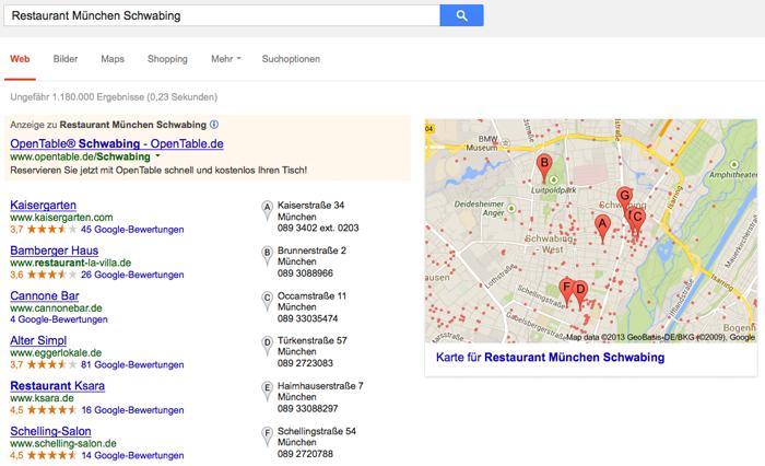 """Google Suchergebnisse """"Restaurant München"""""""