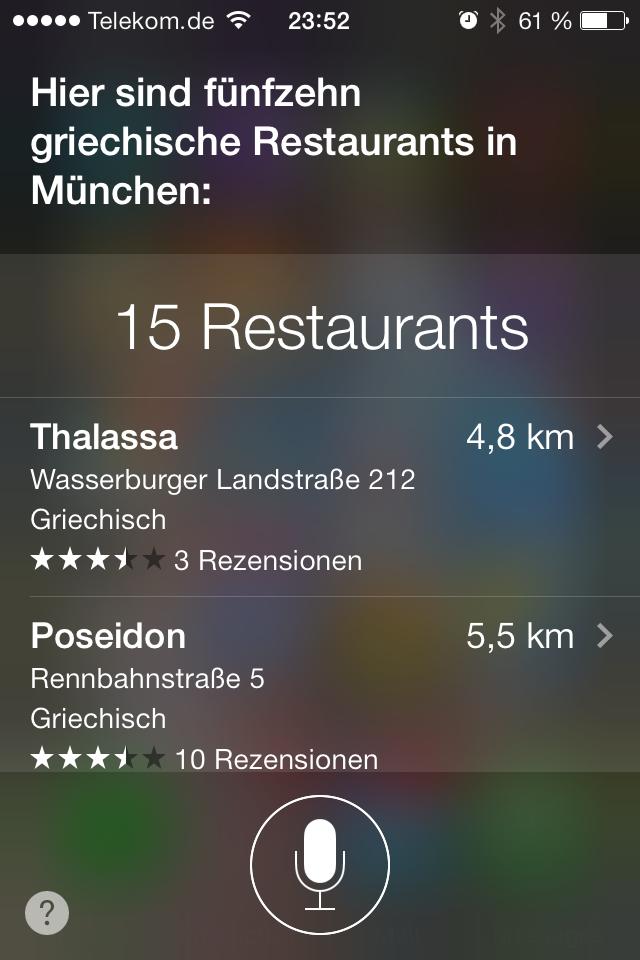 Siri Restaurantsuche